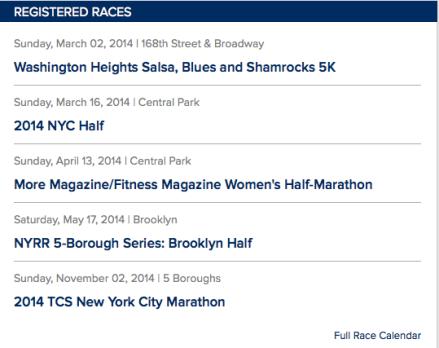 Race Calendar 2014